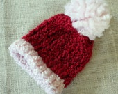 CUSTOM ORDER - Knit Pink and Red Christmas Photo Prop