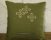 ON SALE - Embroidered Prairie Flower 16x16 grass green linen pillow cover arts and crafts style