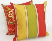 Colorful Patio Pillows, Striped, Outdoor, Decorative Throw Pillow, Cushion Covers, Red Green Yellow, Beach House Decor, Pool 18x18