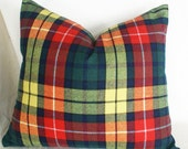 Small Decorative Throw Pillow, Green Orange Yellow Plaid, Colorful Country Cushion Cover, Fall Home Decor 18x15