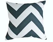 Grey White Chevron Pillow Cover, Graphic Designer Pillows, Charcoal Grey Throw Pillows, Cushion Covers, Modern Home Decor, 18x18, SALE