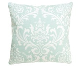 Set of 2 Sea Green Damask  Decorative Pillow Covers 18x18