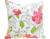 Cottage Chic Pillow Covers, Pink Green White Floral Cushions, Butterflies, Flowers, Spring Summer Home Decor 18x18, 45x45, SALE
