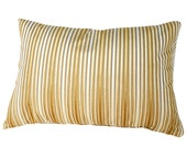 Gold Cream Striped Pillow, Velvet Stripes Pillow, Gold Cushion Cover, Luxury Burnout Velvet, Lumbar, 12x20