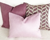 Lilac Pillow Cover, 20x20 Decorative Throw Pillow, Textured, Ultra Suede Couch Cushion Covers, Solid Pastel Color