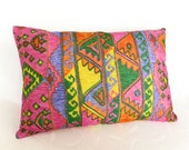 Bohemian Pillows, Colorful Cushion Covers, Pink Purple Orange, Unique, Eclectic, Accent Throw Pillow, Lumbar, Oblong 14x20
