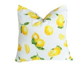 Vintage Lemon Pillow, SALE PILLOWS, White Bright Yellow, Unique Throw Pillow, Country Cushion Covers, Citrine, Rectangle Lumbar 16x20