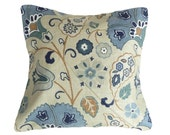 Blue Taupe Country Pillows, SALE, Rustic Floral Cushion Covers, Pennsylvania Dutch Flowers, Cottage Decor, 16x16, 18x18