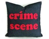 Funny Word Pillows, Dude Words Pillow, Pillows with Sayings, Crime Scene, Man Cave Pillow, Guys Unique Christmas Gift Idea,  20x20