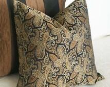 Contemporary Paisley Pillow Covers, Black Brown Throw Pillow, Masculine Sofa Pillows, Modern Mens Home Decor,  18x18
