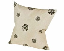 Taupe Black Pillow Covers, Linen Throw Pillows, Neutral Cushion Covers, Embroidered Circles Spirals, 12x18 Lumbar, 18, 20, 22, 24, 26 inch