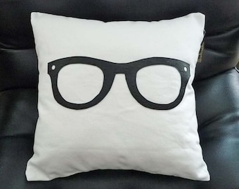 Geek Pillow,  Black Glasses Pillow, Unique Pillows, Birthday Gift, College Dorm Decor,  Children, Teen Cushion Covers 16x16