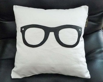 Geek Pillow,  Black Glasses Pillow, Unique Pillows, Birthday Gift, College Dorm Decor, Kids, Children,Teen, Cushion Covers 16x16