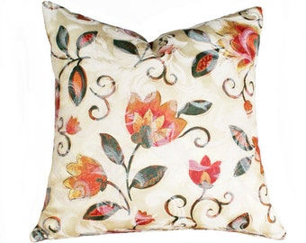 Bohemian Pillows, Colorful BOHO Pillows Covers, Boho Throw Pillows, Cream Orange Pink Yellow Floral Cushion, 12x18 Lumbar, 18x18, 20x20 SALE
