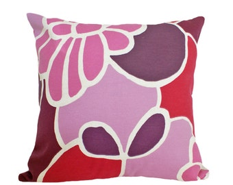 Pink Mod Pillows, Pink Purple Pillow Cover, Pink Floral Pillows, Fuchsia Pink Purple Red, Girls Decorative Pillows, 18x18, Gift For Her