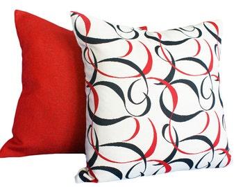 Cream Red Black Pillows, Contemporary Cushion Cover,  Modern Throw Pillows, Sofa Pillow, Abstract Scrolls, 12x18 Lumbar, 16x16, 18x18, SALE