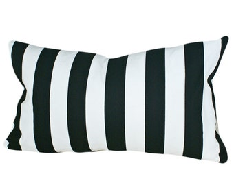 Black and White Striped Pillow Cover, Decorative Throw Pillow, Stripes, Accent Cushions, Modern Lumbar Pillows 12x18