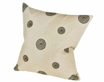 Contemporary Taupe Black Pillow Covers, Neutral Linen Throw Pillows, Oatmeal Cushion Covers, Embroidered Circles Spirals, 20 22 24 26 inch