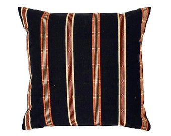 Black Red Striped Pillow, Linen Pillow Covers, Ralph Lauren Style, 12x18, 18, 20, 22, 26 in., Black Red White Stripes, Toss Cushion Covers
