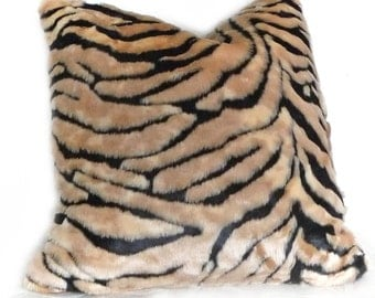 Luxury Fur Pillows, Exotic Faux Fur Pillow, Contemporary Cushion Cover, Decorative Throw Pillow Cover, Couch Sofa Pillow 18x18