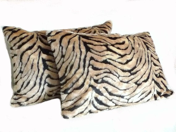 Exotic Fur Pillow Shams, Set of 2, Luxury Textured Pillows, Faux Fur, Bengal Tiger Pillow Covers, Textured, Black Tan Accent Pillows,  20x30