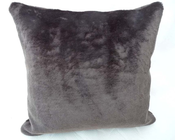 Faux Fur Pillow Dark Brown Textured Decorative Throw