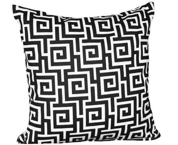 Black and White Decorative Throw Pillow, Modern Greek Key Cushion Cover, Outside Patio Toss Pillow Accent, Eclectic 14x18