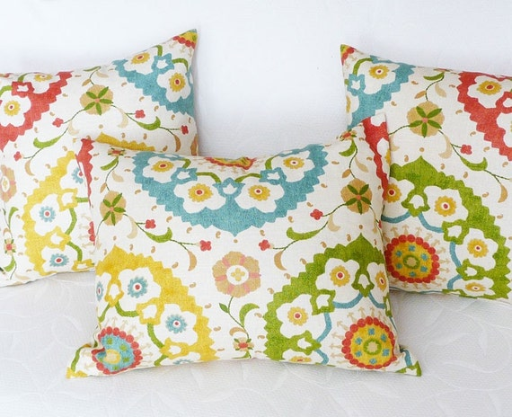 Colorful Suzani Pillow Covers, 18x18, CUSTOM FOR CL, Large Medallions, Cream Turquoise Red Yellow Green, Decorative Pillows, Country Decor