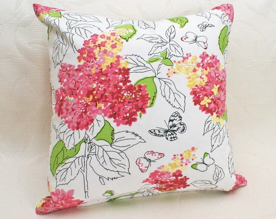 White Floral Pillow Cover, SALE, Pink Red Flowers, Spring Cushion Cover, Lumbar, 12x18, 14x18, 15x18 inches, Hydrangeas, Butterflies