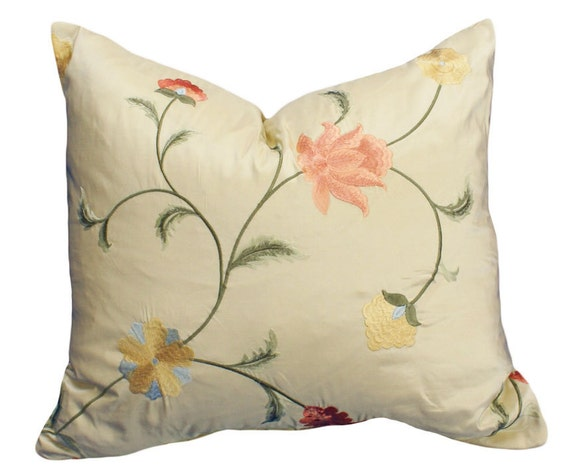 Cream Floral Throw Pillows Luxury Decorative by PillowThrowDecor