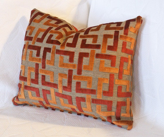 Orange trellis decorative pillow cover luxury by for Luxury decorative throw pillows