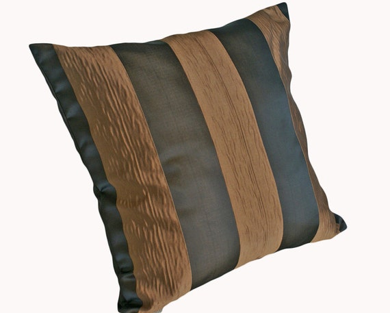 Dark Brown Throw Pillow : Brown Striped Pillows Contemporary Throw by PillowThrowDecor