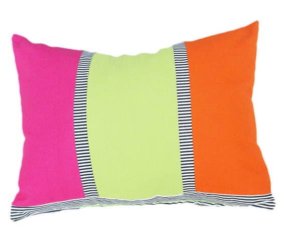 Colorful Decorative Throw Pillows, Bright Pink Green Orange, Color Banded Cushion Covers, Whimsical Sofa Couch Accent, Oblong Lumbar 14x20