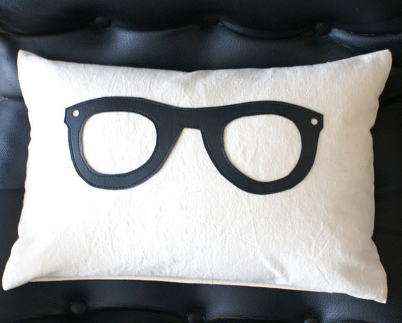 Geek Pillow with Black Glasses, Unique Nerdy Pillow Covers, Dudes, Teens, Dad Gift, Geekery, Dorm Decor, 12x18 Lumbar Cushion