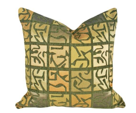 Aztec Pillow, Luxury Decorative Pillow, Textured, Iridescent, Modern Contemporary Green Gold, Masculine Home Decor 20x20