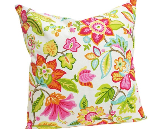 Pink Orange Floral Decorative Pillow Covers: Whimsical and Colorful Spring Cushions 16x18