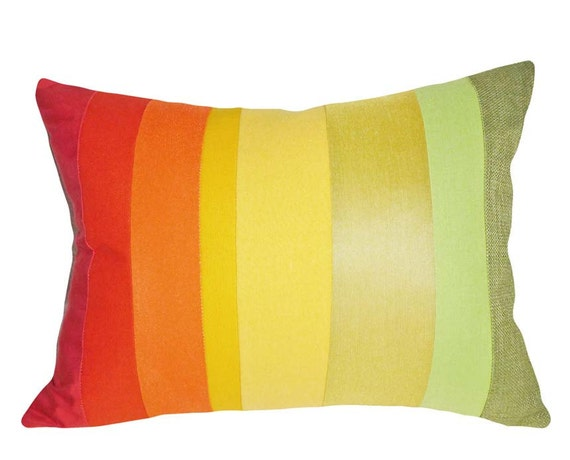 Bright Colorful Pillows, Decorative Throw Pillows, Color Block Band, Ombre Striped, Gradient, Orange Yellow Green, Unique, Lumbar 12x18