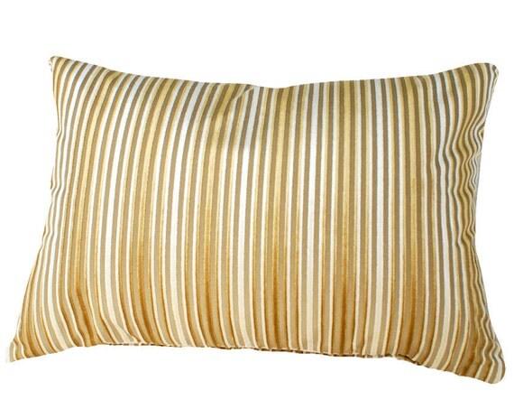 Gold Cream Striped Pillow, Velvet Stripes Pillow, Gold Cushion Cover, Luxury Burnout Velvet, Lumbar, 12x20
