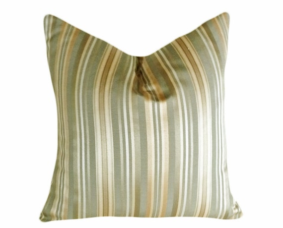 Sage Contemporary Pillows, Green Gold Cream, Striped, CUSTOM FOR CB,  Modern Cushion Covers, 18x18