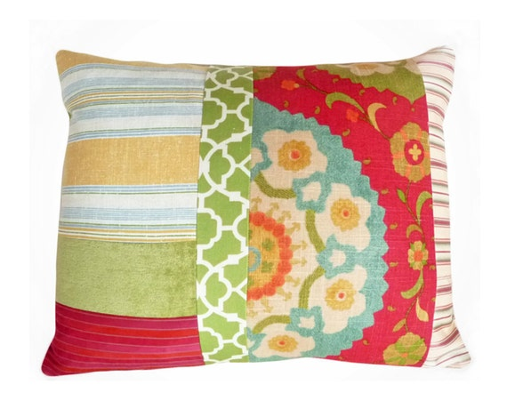 Colorful Bohemian Pillows, Eclectic, Unique, Decorative Throw Pillow, Boho Chic, Bright Red Green, Accent Cushion Covers,  16x20