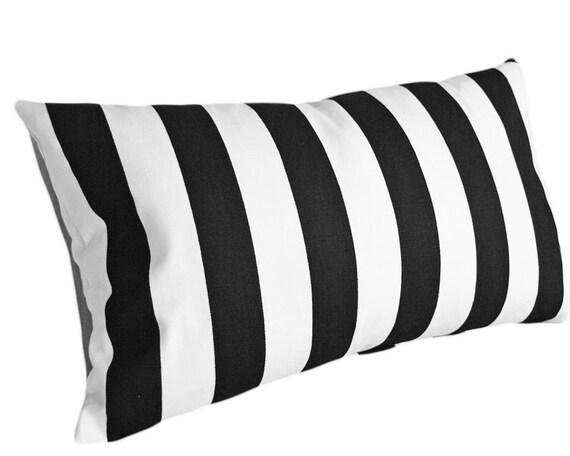 Black White Striped Pillow Cover, Modern Decorative Pillows, Stripes, Oblong Lumbar Pillow Case, Teen Kid Bedroom Decor 12x18