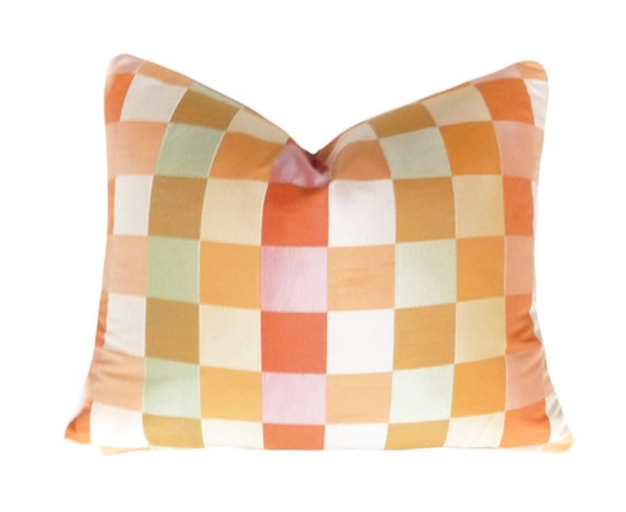 Orange Pink Accent Pillow, CYBER MONDAY SALE, Colorful Cushion Cover, Pastel Colors, Checkered, Eclectic, 10x18