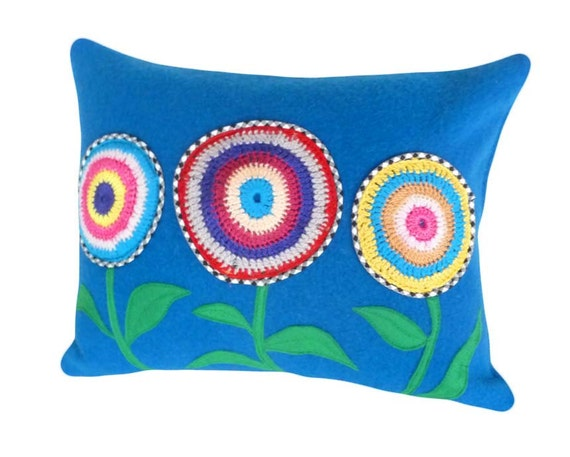 Boho Chic Blue Accent Pillow, Eco Friendly, Colorful Flower Toss Cushion, Repurposed Wool Blanket, Appliqued Crocheted Flower, Unique, 14x18