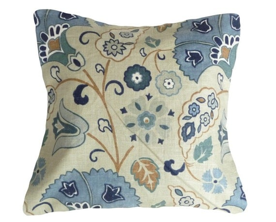Blue Taupe Decorative Pillows, Blue Floral Cushion Covers, Pennsylvania Dutch , Cottage Decor, 16x16, 18x18, SALE, Gift UNDER 10 Dollars