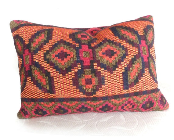 Kilim Pillows, Colorful Cushion Covers, CUSTOM FOR M, Bohemian, Eco Chic, Reversible, Orange Red Green Yellow, Eclectic Toss Pillow 14x18