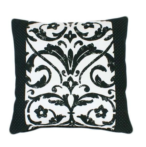 Modern Damask Patterned Decorative Pillow in Black and White