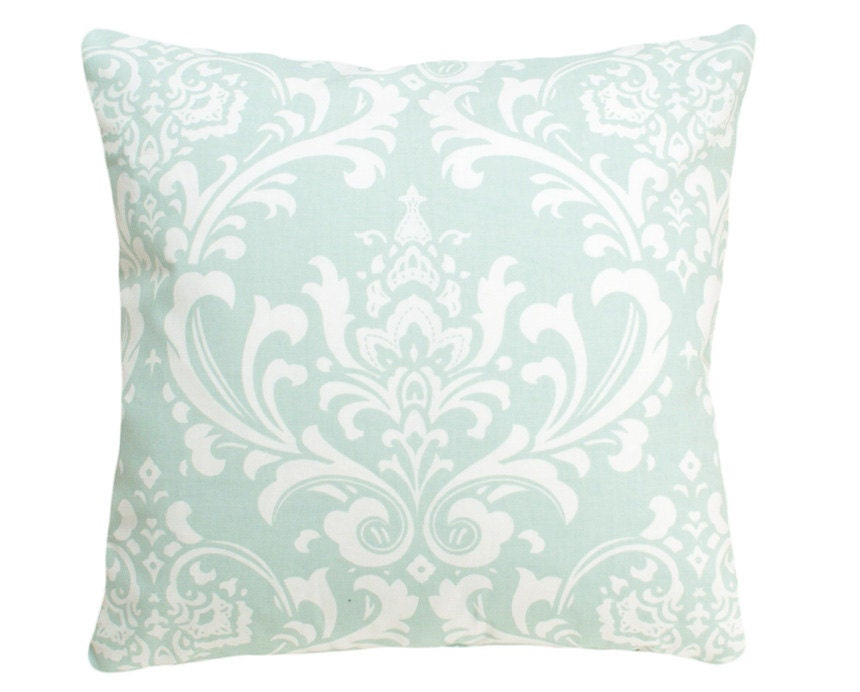 Throw Pillows Damask : Set of 2 Sea Green Damask Decorative Pillow Covers 18x18