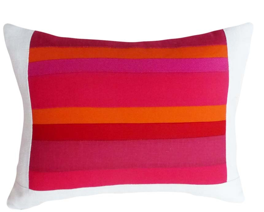 Red And Orange Decorative Pillows : Red Orange Pink Decorative Pillows Colorful Stripes