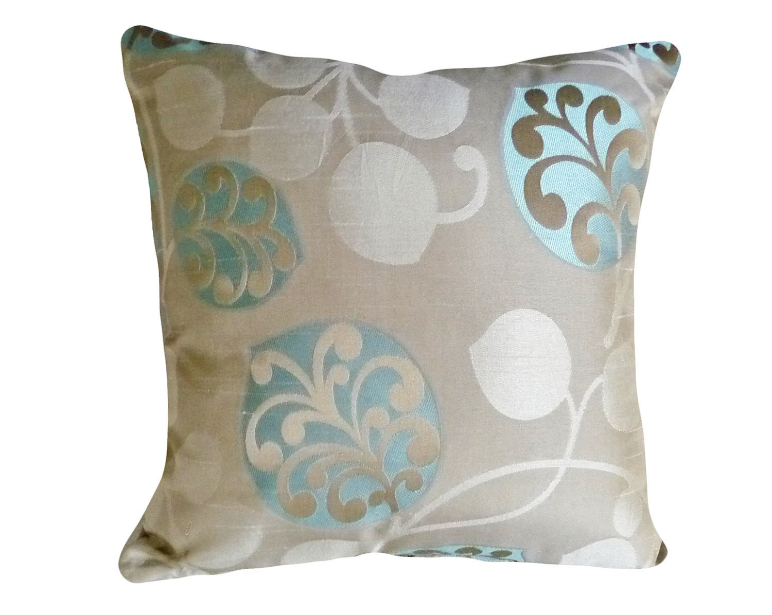 Throw Pillows Taupe : Chic Modern Pillows Taupe Tan Turquoise Blue 20 inch
