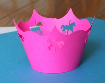 Carousel Cupcake Wrappers -- Set of 12